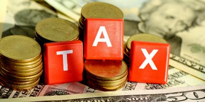 tax, block letters, money, coins