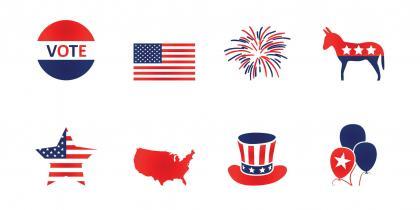 Voting icons, U.S. flag theme, political party symbols, elections