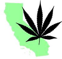 California and Marijuana Leaf