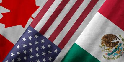 Canadian, American, Mexican Flags: NAFTA modernization USMCA