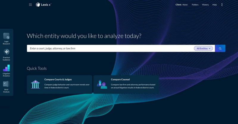 Lexis Litigation Analytics Home Page